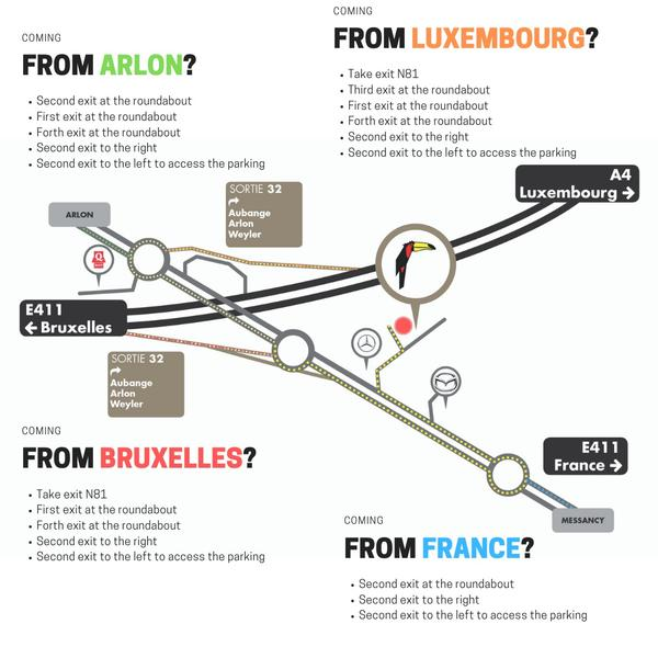 Acces Map to Hotel Luxembourg Arlon